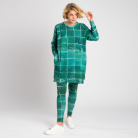 Tiles Green Sweater-Kleid & Leggings Set Damen