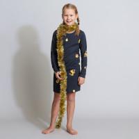 Christmas Bling Blue Long Sleeve Dress Kids