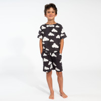 Cloud 9 Grey Black T-shirt & Shorts Set Kids