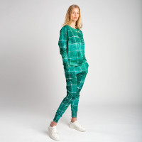 Tiles Emerald Green Sweater & Broek Set Dames